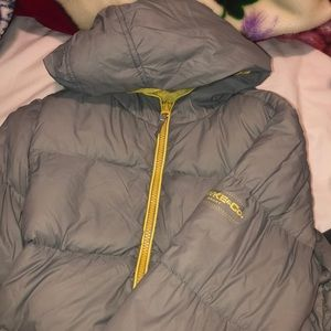 Gray Puffer Jacket with yellow details